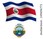 costa rica wavy flag and coat... | Shutterstock .eps vector #149696771