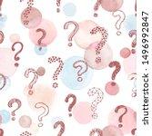 cute vector question marks... | Shutterstock .eps vector #1496992847
