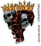 king and queen of death.... | Shutterstock .eps vector #1496999984