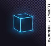 Glowing Blue Neon Cube ...