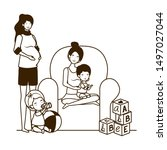 cute pregnancy mothers with... | Shutterstock .eps vector #1497027044