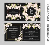 folded wedding invite card with ... | Shutterstock .eps vector #1497044984