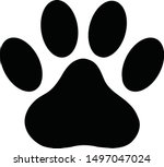 black paw print icon on white... | Shutterstock .eps vector #1497047024