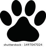 black paw print icon on white...