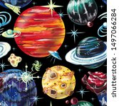 pattern space and planets on... | Shutterstock . vector #1497066284