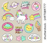 set of fashion patches  cute... | Shutterstock .eps vector #1497089777