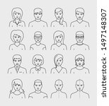 people avatars face vector... | Shutterstock .eps vector #1497148307