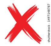 x marks .two red crossed vector ... | Shutterstock .eps vector #1497148787
