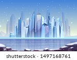 snowfall in modern city cartoon ... | Shutterstock .eps vector #1497168761