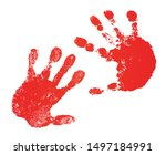 hand paint print set  isolated... | Shutterstock . vector #1497184991