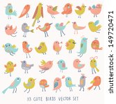 Set of 33 cute birds in vector. Cartoon collection with funny little bird family. - stock vector