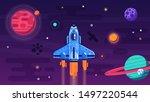 space shuttle flying in galaxy... | Shutterstock . vector #1497220544