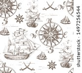 marine seamless pattern with... | Shutterstock .eps vector #1497256544