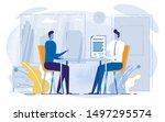 cartoon people sitting table ... | Shutterstock .eps vector #1497295574