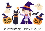 halloween  black cat and child  ... | Shutterstock .eps vector #1497322787