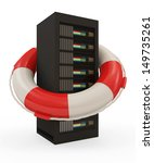 Server security and service concept. Modern Server Rack with Red Lifebelt isolated on white background - stock photo