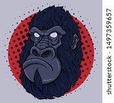 monkey face poster. vector... | Shutterstock .eps vector #1497359657