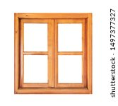 Square Wooden Window Isolated...