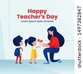 kids student giving flower to... | Shutterstock .eps vector #1497382847