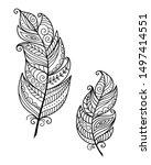 ethnic bird feathers in boho... | Shutterstock .eps vector #1497414551