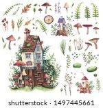 Set Of Watercolor Illustration...