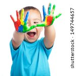 cheerful child with painted... | Shutterstock . vector #149744657
