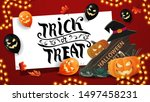 greeting red postcard  trick or ... | Shutterstock .eps vector #1497458231