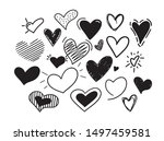 hand drawn vector hearts icons... | Shutterstock .eps vector #1497459581