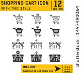 shopping cart icon vector on...