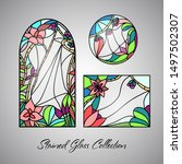 floral bright stained glass... | Shutterstock .eps vector #1497502307