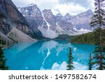 Morraine Lake in Canada with mountains