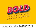 modern 3d bold font and alphabet | Shutterstock .eps vector #1497639011