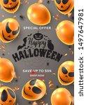 happy halloween sale flyer.... | Shutterstock .eps vector #1497647981