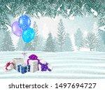 beautiful winter forest... | Shutterstock . vector #1497694727