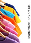 lots of t shirts on hangers... | Shutterstock . vector #149775131