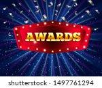 winner banner with glowing... | Shutterstock .eps vector #1497761294