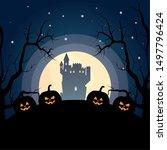 creepy castle pumpkins tree...   Shutterstock .eps vector #1497796424