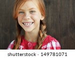 Cute Redheaded Child On Vintage ...