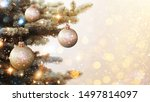 Christmas and New Year holidays background. Glitter lights backdrop. Winter season. Text space. Closeup of Christmas-tree. - stock photo