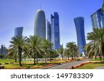 Stock photo the skyline of the modern and high rising city of doha in katar middle east 149783309