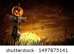 Halloween Pumpkin Scarecrow On...