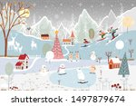 illustrator winter landscape... | Shutterstock .eps vector #1497879674
