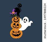 halloween cat in witch hat... | Shutterstock .eps vector #1497888224