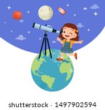 happy kid studies astronomy...   Shutterstock .eps vector #1497902594