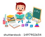 happy kid reads book.  studying ...   Shutterstock .eps vector #1497902654
