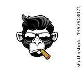 monkey head with cigars and... | Shutterstock .eps vector #1497903071