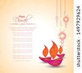 happy diwali festival with oil... | Shutterstock .eps vector #1497929624