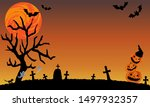 a halloween night at a cemetery ... | Shutterstock .eps vector #1497932357