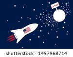 space rocket with american flag ... | Shutterstock .eps vector #1497968714