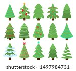 decorated xmas trees. new years ... | Shutterstock .eps vector #1497984731